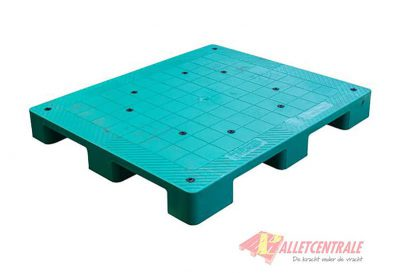 Plastic pallet closed upper deck medium weight 100X120cm, reconditioned